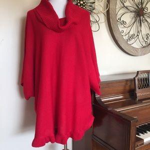 NWT Studio Works 2X Red Poncho Style Sweater